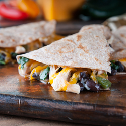 Chicken, Kale and Black Bean Quesadillas