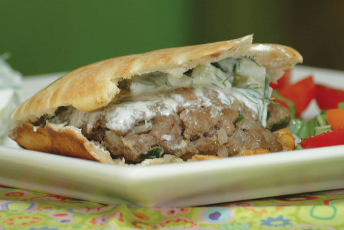 Spicy Beef Stuffed Pitas with Cucumber Sour Cream Sauce