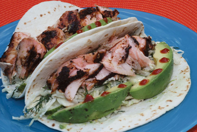 Roasted Salmon Tacos with Cucumber Sour Cream Sauce